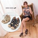 [Here Shoes]2色 羅馬交叉楔型高跟涼鞋  防水台 前高2CM後高8CM ◆MIT台灣製─KD860