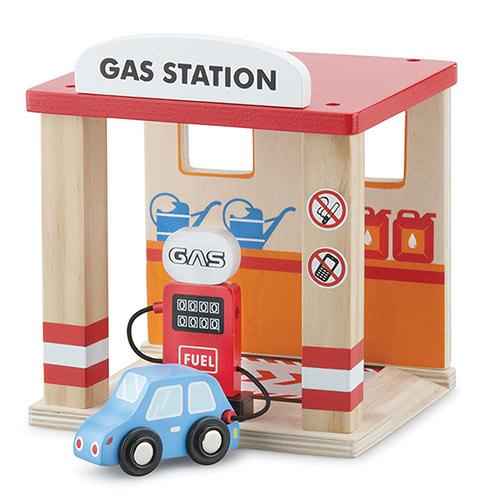 【奇買親子購物網】荷蘭【New Classic Toys】木製車車加油站玩具