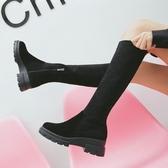 不過膝長靴女2019秋冬新款長筒靴真皮彈力粗跟高筒靴中筒平底靴子