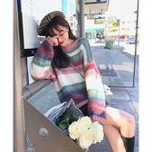 大韓訂製條紋針織上衣韓系甜美彩色長袖毛衣寬鬆免運