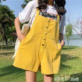 夏季韓版學院風百搭寬鬆顯瘦破洞連體洗水背帶闊腿褲牛仔連體短褲 「潔思米」