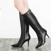 真皮長靴-簡約百搭時尚尖頭高跟女靴子73iv14[時尚巴黎]