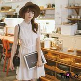 洋裝-Tirlo-無袖立領排釦棉麻兩穿罩衫洋裝-3色