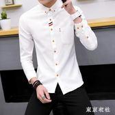 中大尺碼襯衫襯衫 新款長袖潮流修身版青少年休閒襯衣白色男士襯衫 QQ10108『東京衣社』