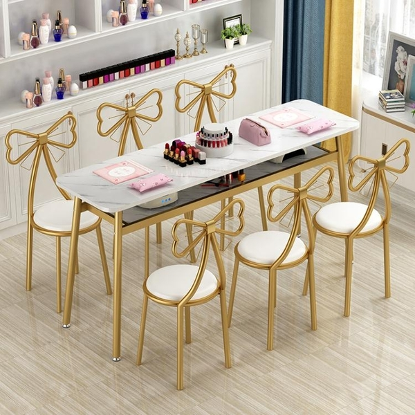 美甲桌 簡約美甲桌椅套裝經濟型單人雙人美甲台網紅美甲桌子小型AQ 有緣生活館
