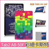 聯想 Lenovo tab2 A8-50F 平板保護套 A8-50LC 皮套 保護套 彩繪卡斯特 超薄 三折 支架 平板皮套