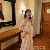 2021年夏裝新款小個子法式初戀裙復古仙女洋裝洋裝蛋黃的長裙子 雙十同慶 限時下殺