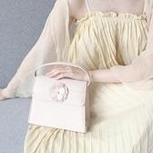 肩背包-小花翻蓋式兩用小方包時尚女手提包73so2[巴黎精品]