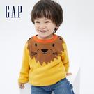 Gap幼童裝 可愛動物織紋刷毛毛衣 703946-金黃色
