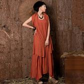 無袖連身裙-寬髮復古棉麻純色女長裙5色73vu12【巴黎精品】