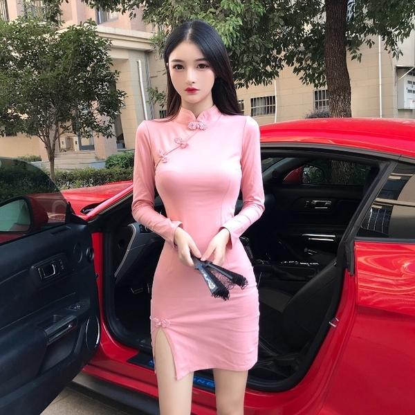 旗袍洋裝 中國風復古長袖少女日常改良旗袍式收腰修身顯瘦長袖連身裙女