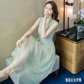 無袖蕾絲連身裙2019新款洋裝中長款收腰顯瘦氣質洋氣超仙桔梗裙 mj15180『俏美人大尺碼』