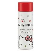 小禮堂 Hello Kitty 迷你 保溫瓶 旋轉蓋 超輕量不鏽鋼 水壺 水瓶 隨手瓶 120ml (紅 愛心) 4973307-48870