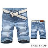 牛仔短褲 Free Shop【QTJK8373】日韓風格刷白抓破造型抽鬚金屬鈕扣單寧五分褲牛仔短褲‧有大尺碼