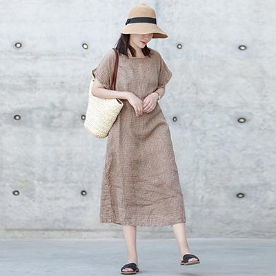 亞麻連身裙 格子短袖長裙 寬鬆薄款休閒裙-夢想家-0712