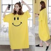 寬鬆大尺碼棉質睡裙女夏季正韓卡通長版短袖T恤裙休閒可愛睡衣長裙 全館免運