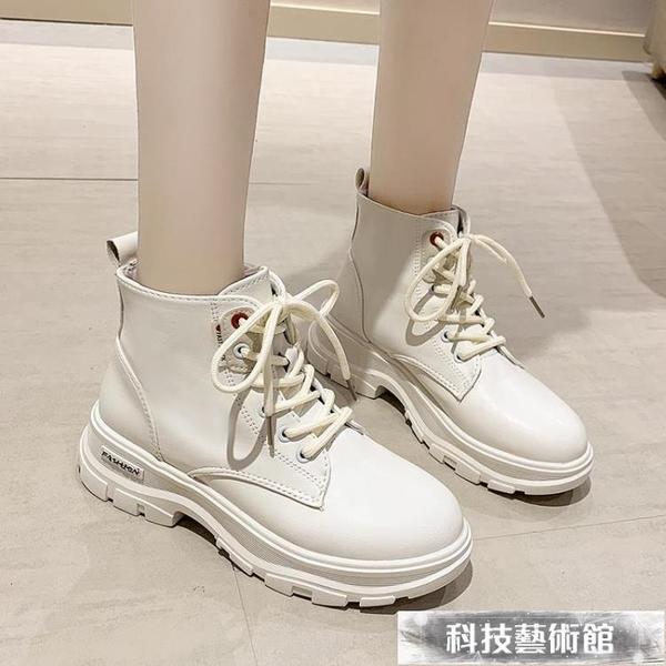 網紅厚底馬丁靴女2021夏新款英倫風ins潮復古單靴黑色機車短靴子