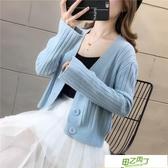 針織外套 秋季短款小開衫矮小個子女生外搭單排扣外穿女裝V領毛衣針織上衣【快速出貨】