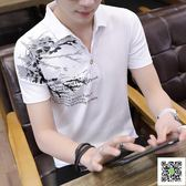 Polo衫 短袖t恤 男潮流夏季男裝修身純棉襯衫領男士polo衫半袖上衣服 歐歐流行館