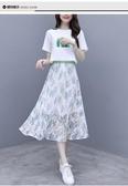 兩件式洋裝 夏季2020新款韓版網紅洋氣連身裙兩件套百搭半身裙短袖休閒套裝女 小宅女