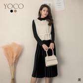 東京著衣【YOCO】YOCO-優雅光感百褶裙針織背心附腰帶兩件式洋裝(191457)
