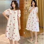 初心 清新 草莓 刺繡【D3650】 韓系 小清新 包袖 繡花 洋裝 洋裝