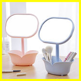 創意簡約臺式化妝鏡帶儲物盒 二合一收納儲物梳妝鏡可旋轉公主鏡