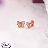 耳環 金蝴蝶水鑽耳環-Ruby s 露比午茶