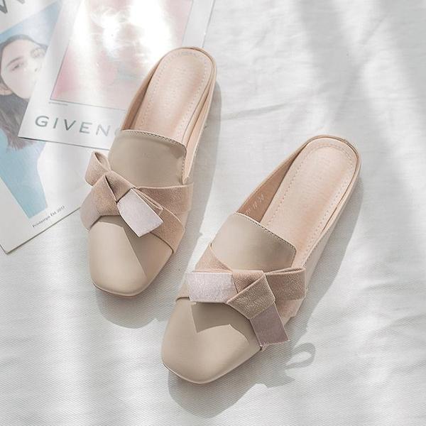 降價兩天 2020春季新款包頭女拖鞋韓版時尚蝴蝶結百搭街拍網紅半拖鞋女外穿