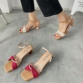 網紅仙女風涼鞋夏季百搭一字扣帶絨面時尚粗跟露趾高跟鞋 - 風尚3C