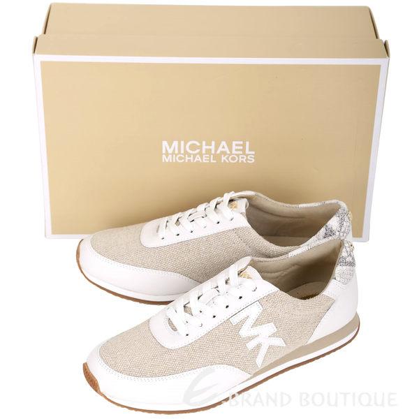 Michael Kors STANTON 拼接帆布綁帶休閒鞋(女鞋/白色) 1620944-20