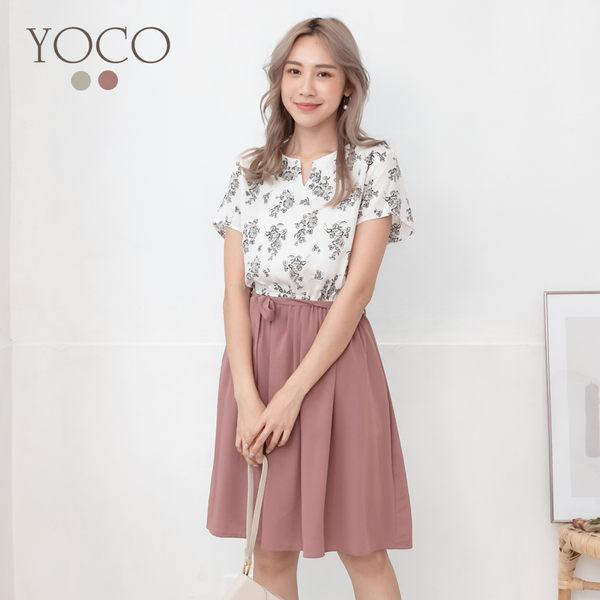 東京著衣【YOCO】YOCO-浪漫花語V領假兩件附綁帶洋裝-S.M.L(190436)