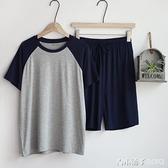 莫代爾夏天睡衣男士薄款寬鬆短袖短褲夏季可外穿運動家居服套裝 青木鋪子