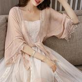 雪紡防曬開衫女夏薄配裙子的雪紡上衣超仙甜美蕾絲披肩外搭防曬衫-蘇迪奈
