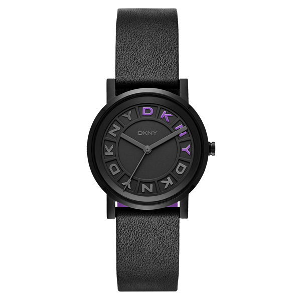 DKNY 摩登熠光時尚腕錶-黑x紫x皮帶