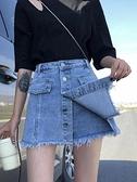 褲裙 牛仔褲裙女夏寬鬆假兩件2021年新款春裙子高腰一體裙褲毛邊短褲潮 美物