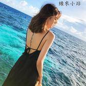 沙灘裙子海邊度假黑色長裙連身裙