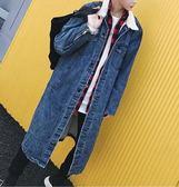 FINDSENSE Z1 韓國 時尚 潮 男 加長款 加絨 牛仔外套 長外套
