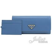 茱麗葉精品【全新現貨】PRADA 1MH132 三角LOGO水波紋防刮附證件卡雙扣長夾.藍