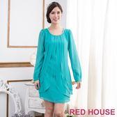 【RED HOUSE-蕾赫斯】層次感縫珠雪紡洋裝(湖水綠) 年前出清 滿599元才出貨
