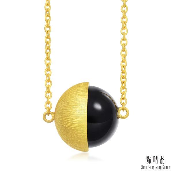 點睛品 g*collection系列 時尚單顆半圓形黑玉髓純金項鍊