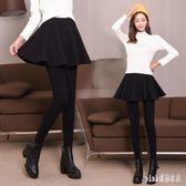 中大尺碼打底褲裙 女冬新款秋裝假兩件加絨加厚顯瘦連裙褲子 js17354『Pink領袖衣社』