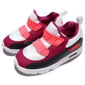 Nike 復古慢跑鞋 Air Max Tiny 90 TD 紅 黑 白底 免綁鞋帶 氣墊 休閒鞋 童鞋 小童鞋【PUMP306】 881924-101