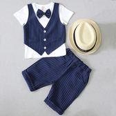 兒童小西裝套裝寶寶韓版馬甲兩件套夏季短袖花童禮服英倫男童西服 小宅女