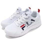 FILA 慢跑鞋 J026S 白 紅 休閒鞋 透氣網布 運動鞋 基本款 男鞋【PUMP306】 4J026S113