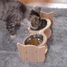 實木寵物貓碗狗碗不銹鋼貓食盆貓糧碗架水碗貓咪飯盆雙碗貓咪用品