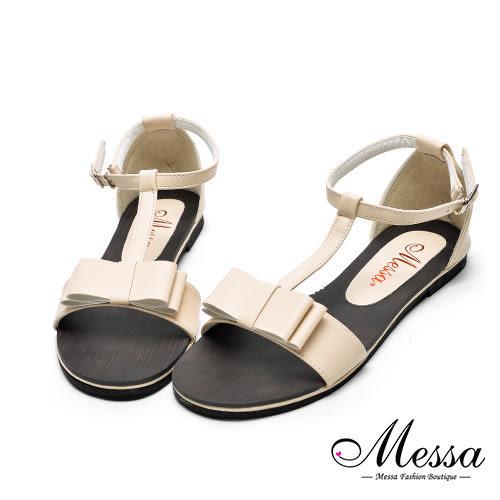 【Messa米莎專櫃女鞋】MIT繫踝蝴蝶結造型內真皮平底涼鞋-粉紅色