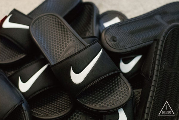 ISNEAKERS Nike Benassi Swoosh 拖鞋 黑底 白勾 單勾拖 GD 實著 312618-011