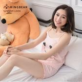 加大尺碼--簡約笑臉印圖荷葉下擺超舒適純棉寬鬆兩件式睡衣(粉XL-3L)-U467眼圈熊中大尺碼
