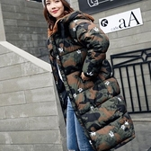 現貨迷彩L防風保暖中長棉服風衣外套22919